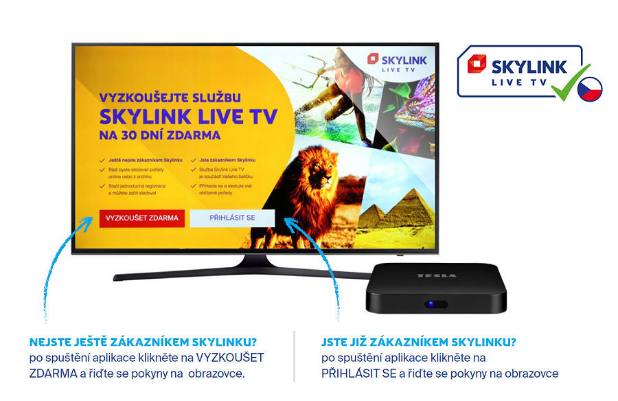 Skylink LIVE TV registrace